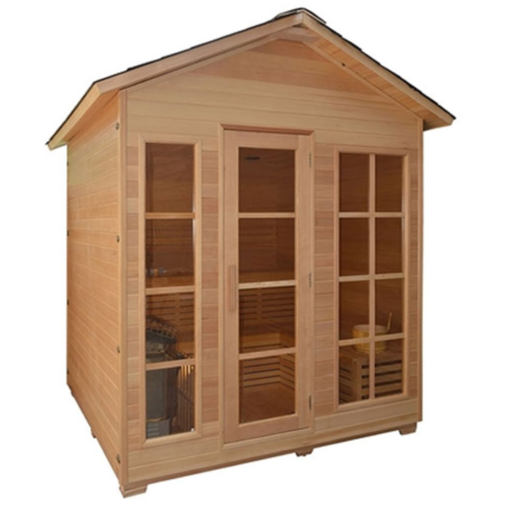ALEKO® CED6IMATRA 4 PERSON CANADIAN RED CEDAR WOOD OUTDOOR AND INDOOR WET DRY SAUNA WITH 4.5 KW ETL ELECTRICAL HEATER