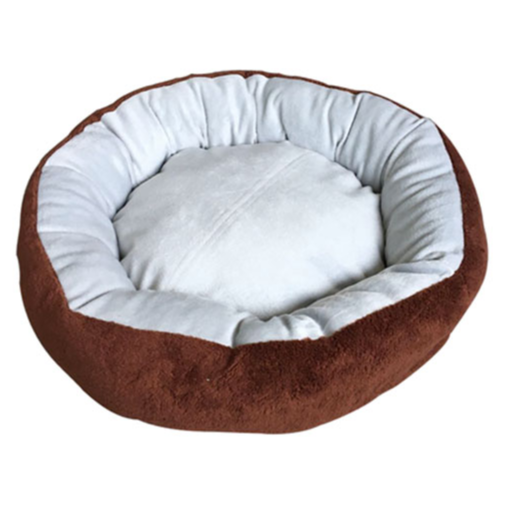 EXTRA PLUSH ROUND DOG BED WITH REMOVABLE PILLOW - 22 X 17.5 INCHES - BROWN AND GRAY