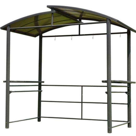 ALEKO® STEEL HARD TOP BBQ GAZEBO WITH SERVING TABLES - 8 X 5 X 8 FEET - BROWN