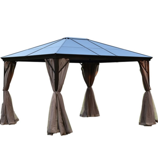 ALEKO® ALUMINUM HARDTOP GAZEBO WITH REMOVABLE MESH WALLS - 10 X 12 FEET - BROWN