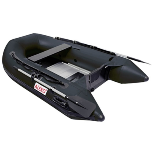 ALEKO® 8.4 FT INFLATABLE BOAT WITH ALUMINUM FLOOR - BLACK, HUNTER AND GREY