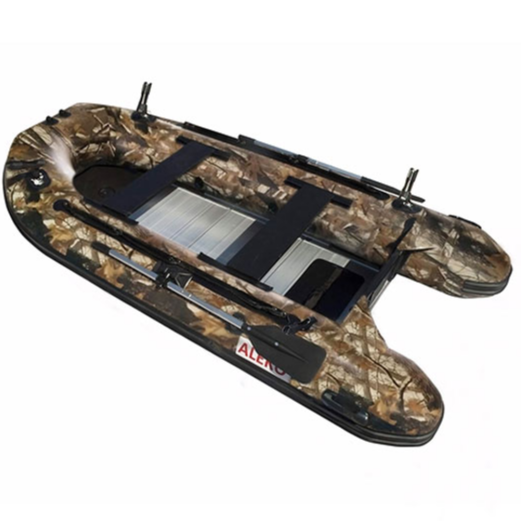 ALEKO® PRO FISHING BOAT RAFT - 12.5 FEET (3.8 M) - ALUMINUM FLOOR - 6 PERSON INFLATABLE BOAT - FRONT BOARD HOLDERS - HUNTER STYLE COLOR