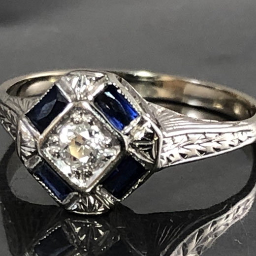 14kt White Gold Diamond and Sapphire Art Deco Ring