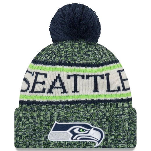 1 Dozen SEATTLE SEAHAWKS 2018 ON THE FIELD KNIT BEANIE W/ POM