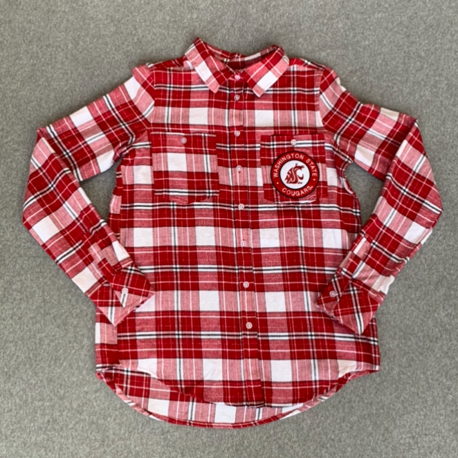 Washington State University - Cougars Women's Button Up Flannel With Cougar Logo On Pocket