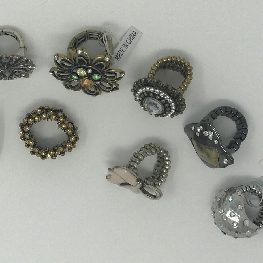 One dozen (12) piece Wholesale Lot of Costume Jewelry Stretchy Rings assorted Mix One Size Fits All