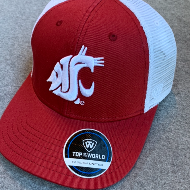 Washington State University - Cougars Top Of The World Crimson Adjustable Hat with White Mesh Back