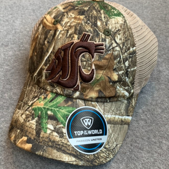 Washington State University - Top Of The World Adjustable Camo Hat with Mesh Back