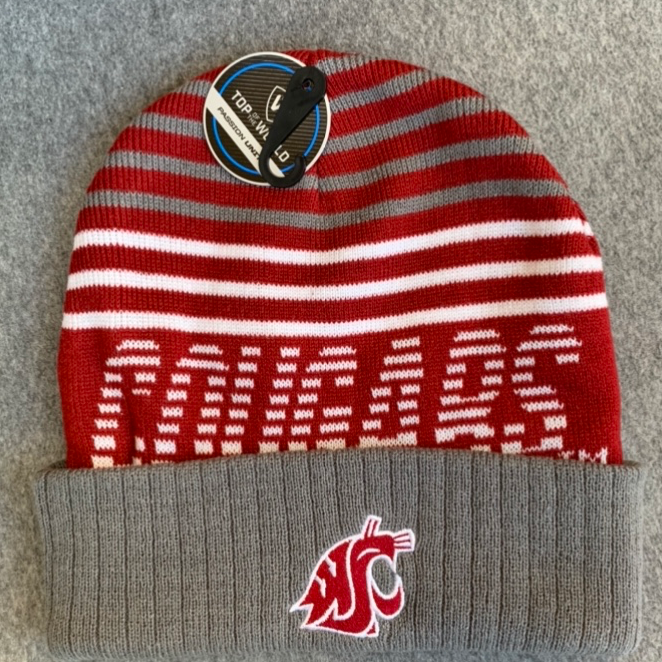 Washington State University - Top Of The World Crimson and Grey Knit Beanie