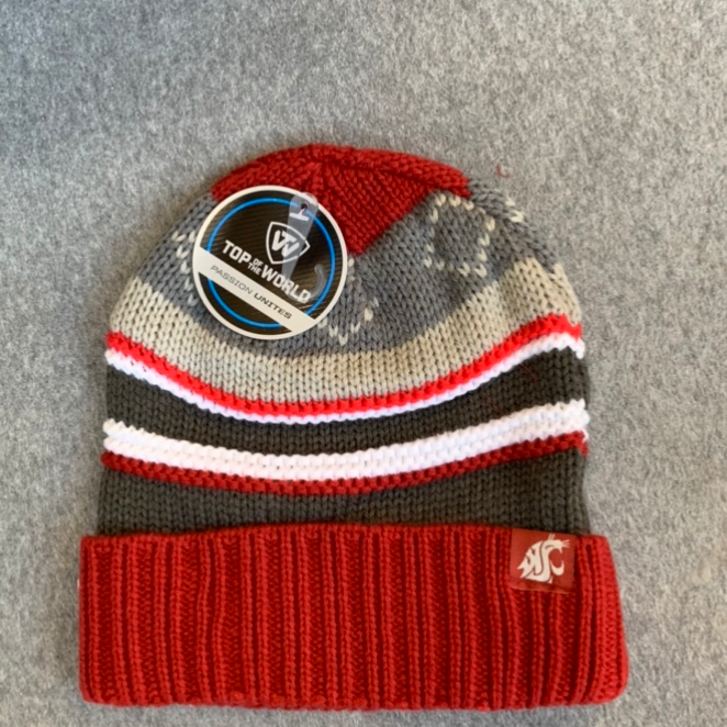 Washington State University - Top Of The World Crimson And Grey Striped Knit Beanie