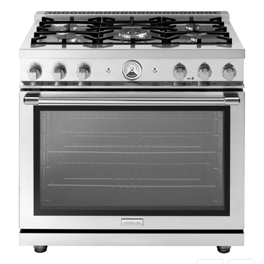 "Superiore Range LA CUCINA 36"" Panorama Stainless Steel 5 Gas, Gas Oven"