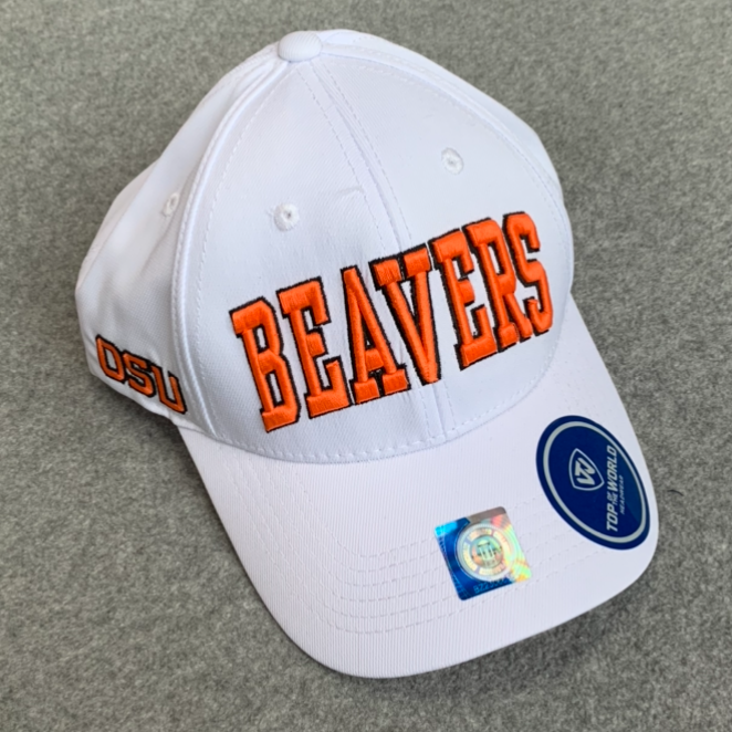 Oregon State University Ball Cap - White With Orange, Adjustable