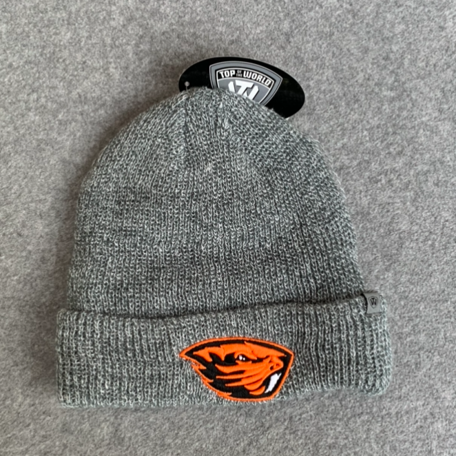 Oregon State University Beanie Hat - Grey With Orange