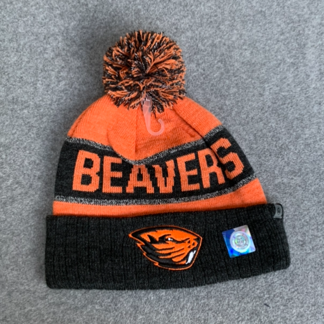 Oregon State University Pom Pom Beanie Hat - Orange & Black