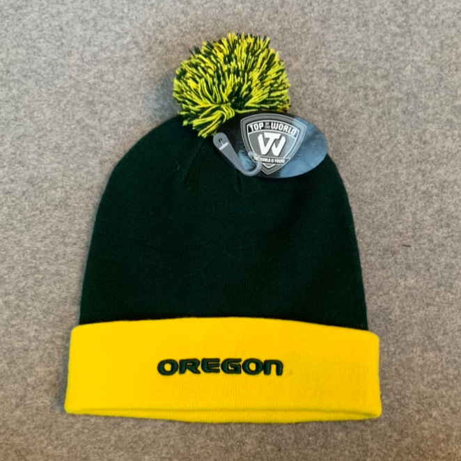 University of Oregon Pom Pom Beanie Hat - Dark Green & Yellow