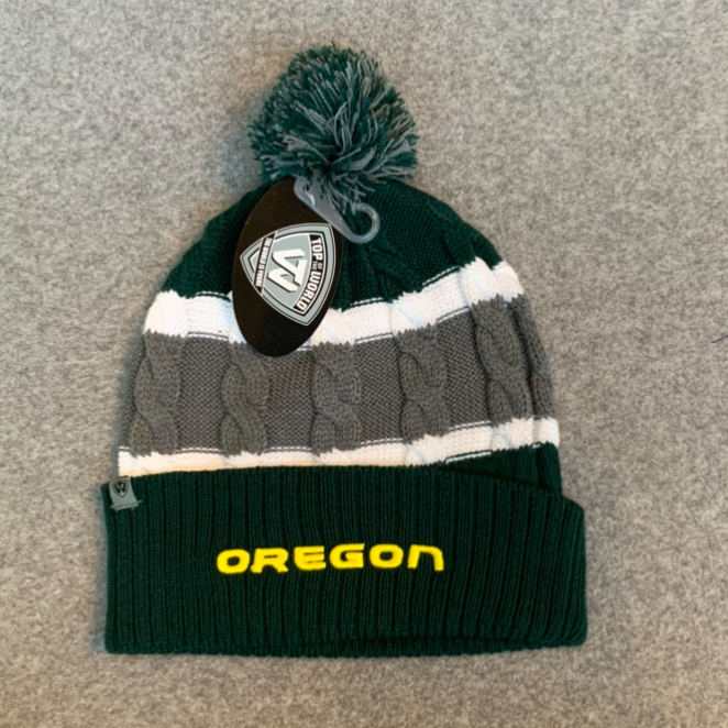 University of Oregon Pom Pom Beanie Hat - Green, White & Grey
