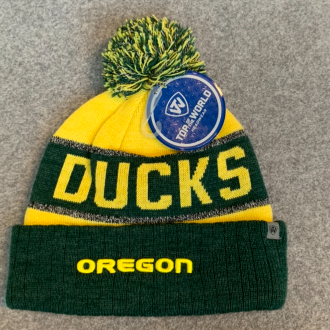 University of Oregon Pom Pom Beanie Hat - Yellow & Dark Green