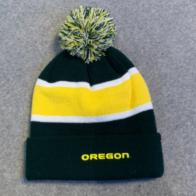 University of Oregon Pom Pom Beanie Hat - Green & Yellow