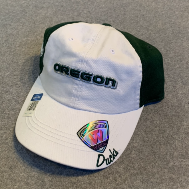 Women's University of Oregon Ball Cap - White & Dark Green, Adjustable