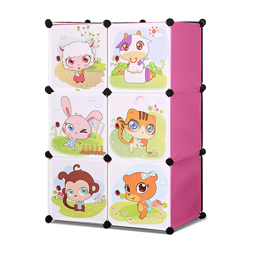 WHIMSICAL CHILDREN'S 3 LEVEL 6 CUBE INTERLOCKING MULTIPURPOSE ANIMAL THEMED STORAGE ORGANIZER IN PINK