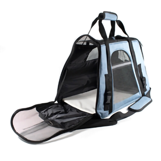 PORTABLE HEAVY DUTY PET TRAVEL SHOULDER CARRIER BAG - BLUE AND BLACK