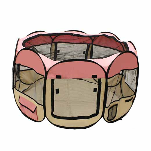 OCTAGONAL PORTABLE POP-UP PET PLAYPEN - 57 INCHES - PINK