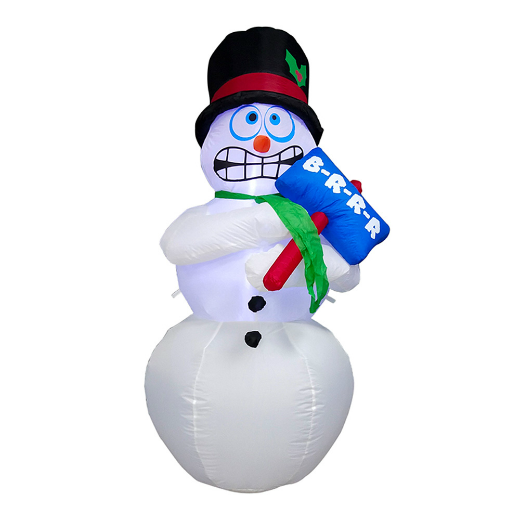 INFLATABLE LED SHIVERING SNOWMAN FOR YARD WITH SIGN - 6 FOOT