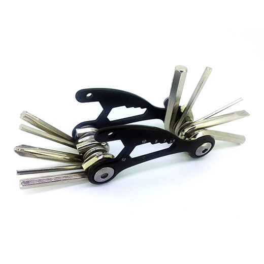 STEEL MULTI-FUNCTIONAL BICYCLE TOOL - 1.5 X 3 INCHES - BLACK