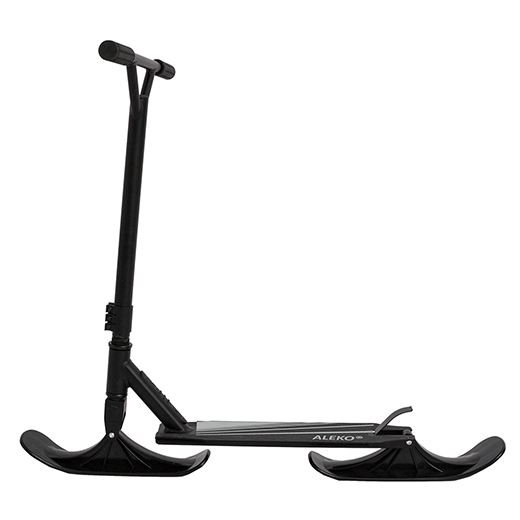 DELUXE ADULT STREET SKI 2-IN-1 KICK STUNT SCOOTER WITH SKI SNOW ATTACHMENT - BLACK