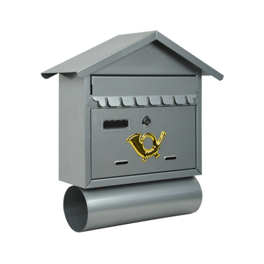 WALL MOUNTED MAIL BOX WITH RETRIEVAL DOOR, 2 KEYS AND NEWSPAPER COMPARTMENT