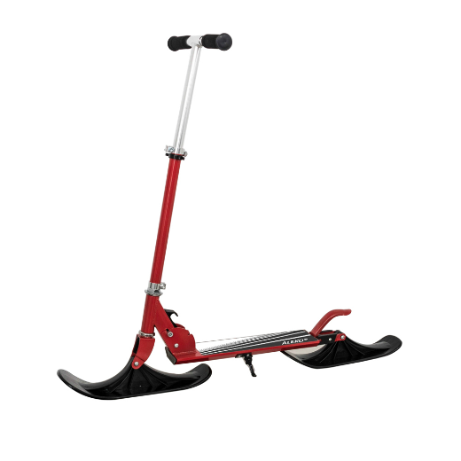 DELUXE STREET SKI 2-IN-1 YOUTH KICK STUNT SCOOTER WITH SKI SNOW ATTACHMENT - RED