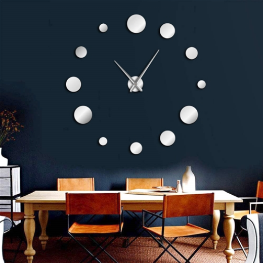 ALEKO® FRAMELESS MODERN REFLECTIVE DOT DIY WALL CLOCK - SILVER - LARGE
