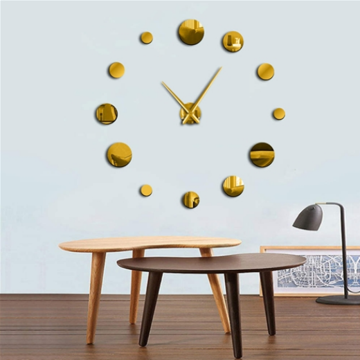 ALEKO® FRAMELESS MODERN REFLECTIVE DOT DIY WALL CLOCK - GOLD - LARGE