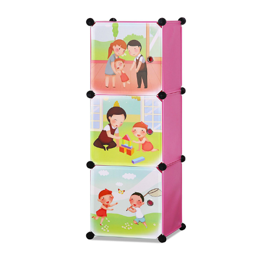 ALEKO® WHIMSICAL CHILDREN'S 3 LEVEL COLLAPSIBLE PLAY TIME THEMED MULTIPURPOSE STORAGE ORGANIZER CUBES IN PINK