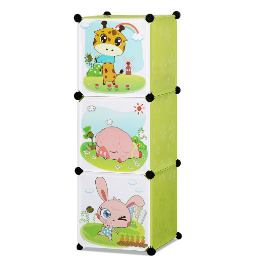ALEKO® WHIMSICAL CHILDREN'S 3 LEVEL COLLAPSIBLE MULTIPURPOSE ANIMAL THEMED STORAGE ORGANIZER CUBES IN GREEN