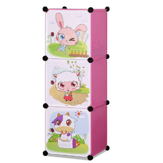 ALEKO® WHIMSICAL CHILDREN'S 3 LEVEL COLLAPSIBLE MULTIPURPOSE ANIMAL THEMED STORAGE ORGANIZER CUBES IN PINK