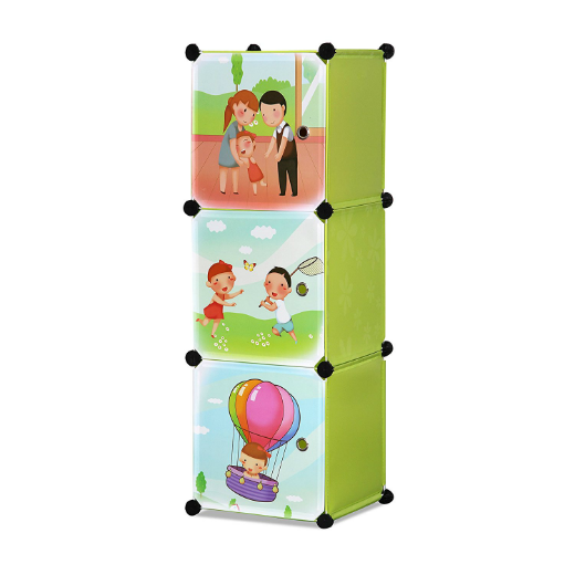 ALEKO® WHIMSICAL CHILDREN'S 3 LEVEL COLLAPSIBLE PLAY TIME THEMED MULTIPURPOSE STORAGE ORGANIZER CUBES IN GREEN