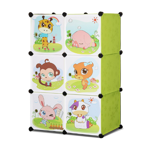 ALEKO® WHIMSICAL CHILDREN'S 6 CUBE INTERLOCKING MULTIPURPOSE ANIMAL THEMED STORAGE ORGANIZER WITH GARMENT RACK IN GREEN