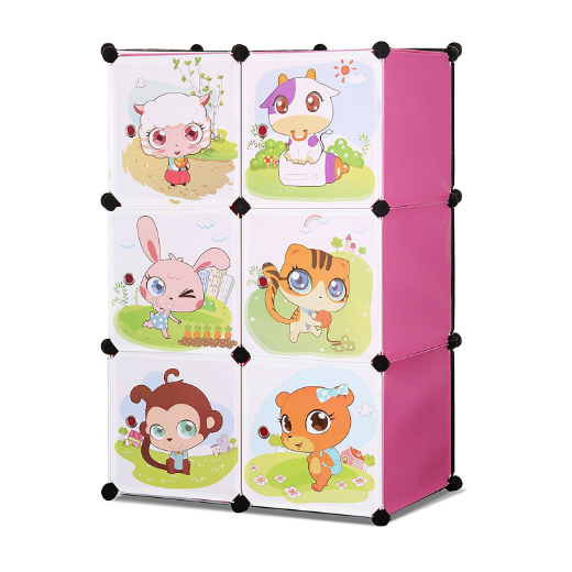 ALEKO® WHIMSICAL CHILDREN'S 6 CUBE INTERLOCKING MULTIPURPOSE ANIMAL THEMED STORAGE ORGANIZER WITH GARMENT RACK IN PINK
