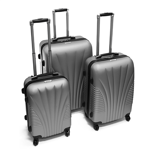 ALEKO® ABS LUGGAGE TRAVEL SUITCASE SET WITH LOCK - 3 PIECE - ART DECO PATTERN - SILVER