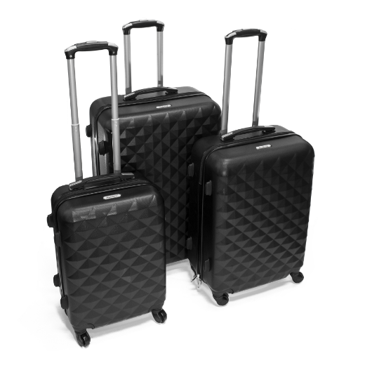 ALEKO® ABS LUGGAGE TRAVEL SUITCASE SET WITH LOCK - 3 PIECE - DIAMOND PATTERN - BLACK