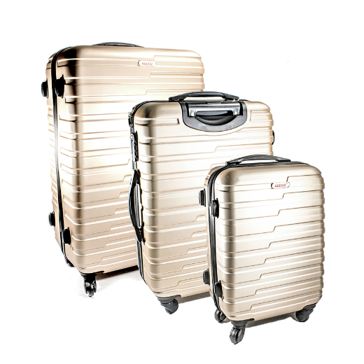 ALEKO® ABS LUGGAGE TRAVEL SUITCASE SET WITH LOCK - 3 PIECE - HORIZONTAL STRIPE - CHAMPAGNE