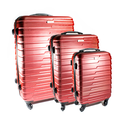 ALEKO® ABS LUGGAGE TRAVEL SUITCASE SET WITH LOCK - 3 PIECE - HORIZONTAL STRIPE - BURGUNDY