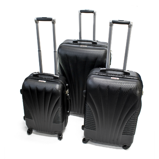 ALEKO® ABS LUGGAGE TRAVEL SUITCASE SET WITH LOCK - 3 PIECE - ART DECO PATTERN - BLACK
