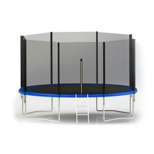 ALEKO® TRAMPOLINE WITH SAFETY NET AND LADDER - 8 FEET - BLACK AND BLUE