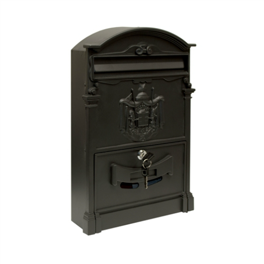 ALEKO® ELEGANT WALL MOUNTED MAIL BOX WITH RETRIEVAL DOOR, 2 KEYS AND BOLTS, BLACK