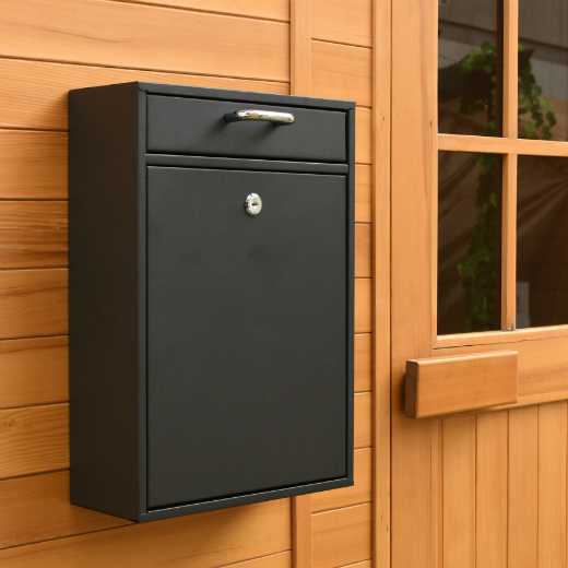 ALEKO® DURABLE WALL MOUNTED MAIL DROP BOX WITH LOCK AND KEY, BLACK COLOR
