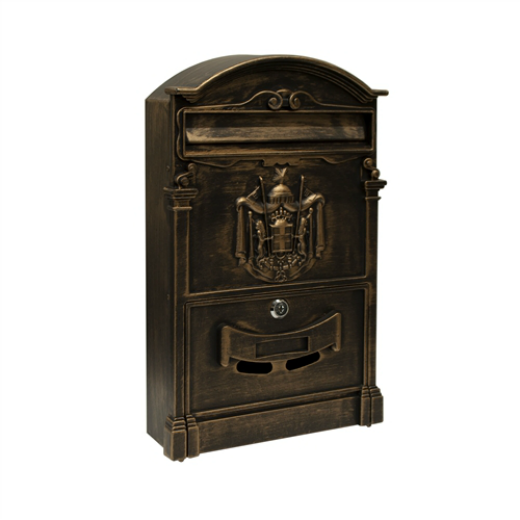 ALEKO® ELEGANT WALL MOUNTED MAIL BOX WITH RETRIEVAL DOOR, 2 KEYS AND BOLTS, BRONZE