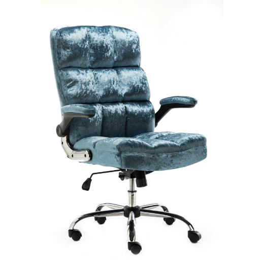 UPHOLSTERED FABRIC LUXURY OFFICE CHAIR - METALLIC BLUE