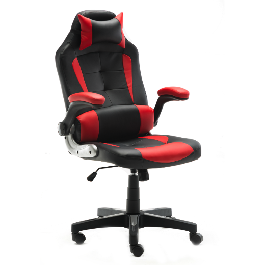 ERGONOMIC RECLINING HIGH-BACK OFFICE/GAMING CHAIR - RED AND BLACK
